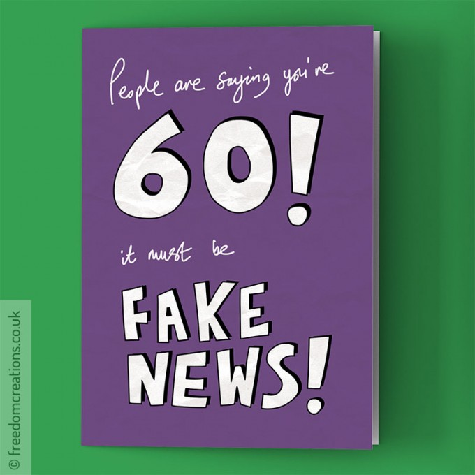 Fake news 60th birthday card by pello fake news 60th birthday card bookmarktalkfo Image collections