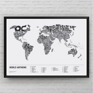 World Anthems: A Map of National Anthems of UN Member States - Monochrome