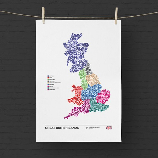 Music Map of Great British Bands Tea Towel
